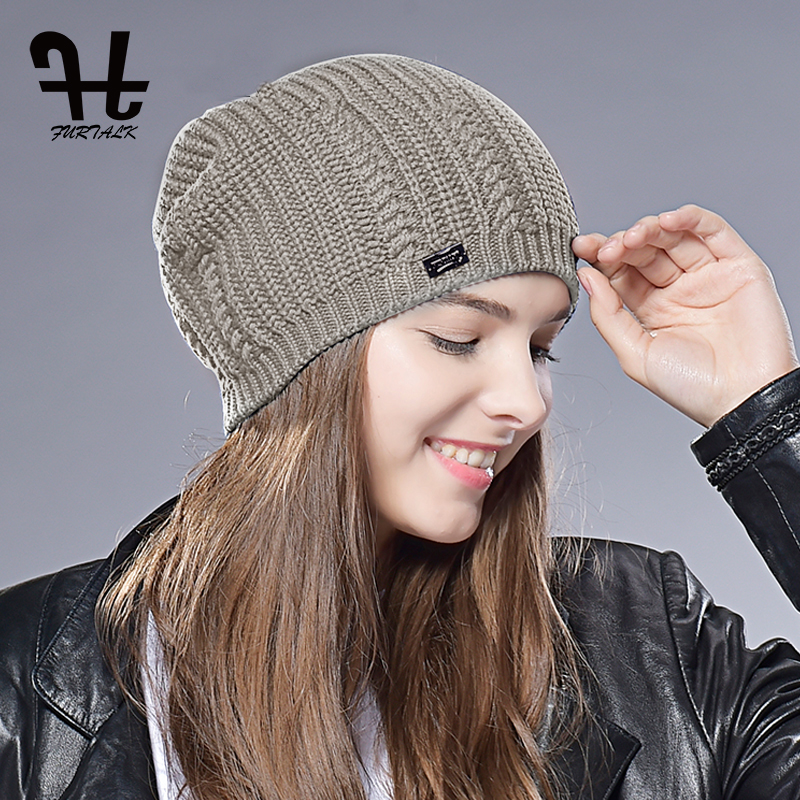 FURTALK Women Beanie Hat For Spring Winter Knitted Skullies Hats Slouchy Beanie Hat Female Wool Autumn Cap 2019