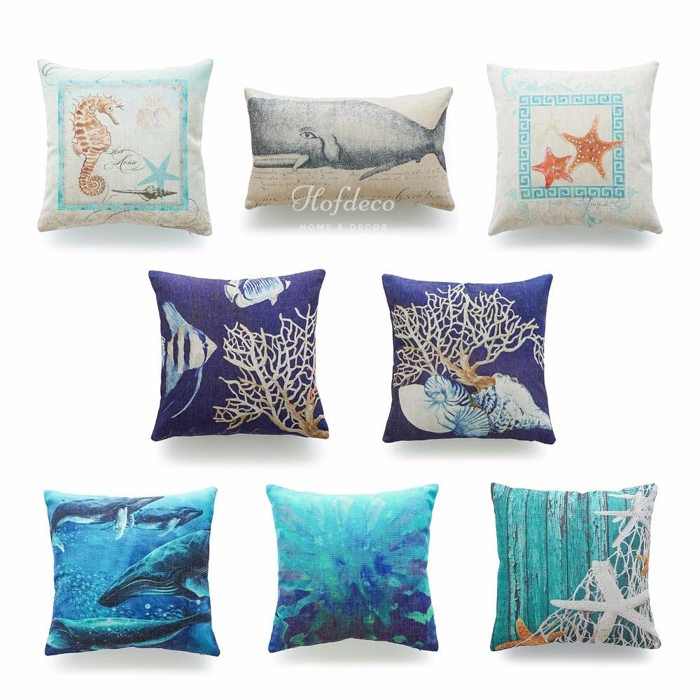 popular nautical throw pillow coversbuy cheap nautical throw  - decorative throw lumbar pillow case ocean coastal beach nautical watercolorcotton linen heavy weight fabric sofa
