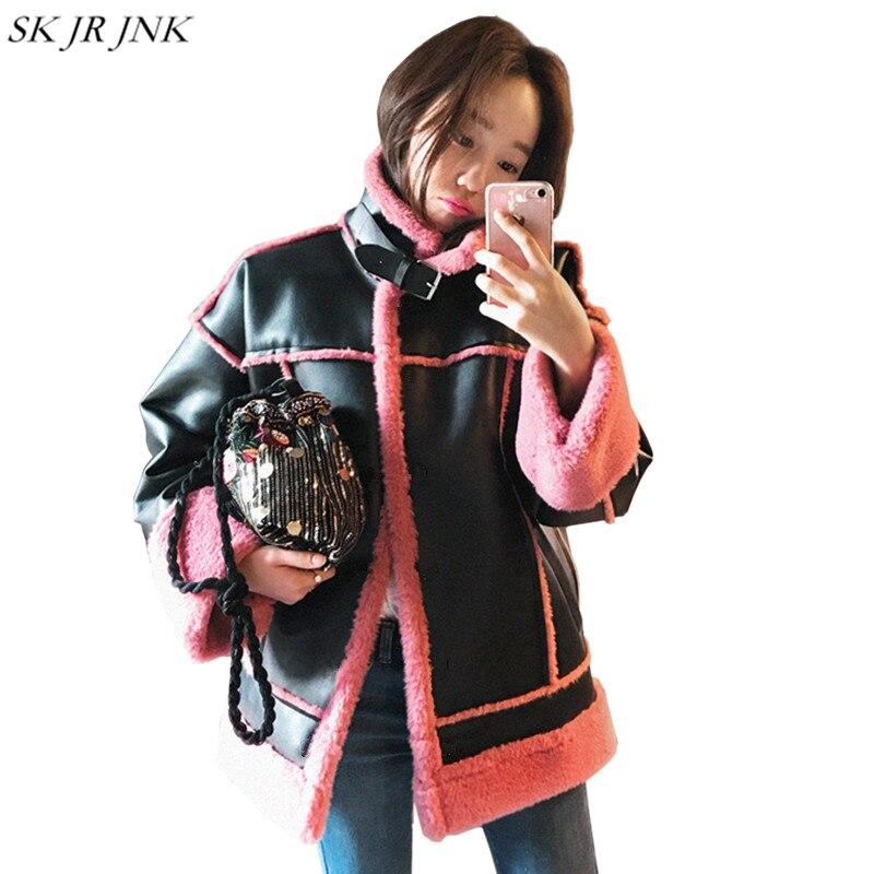 Pw26 Cuero Solapa De Rosa Casual Delgada Suave Capa Faux Pink Negro Elegante Chaqueta Piel 4BaZaq
