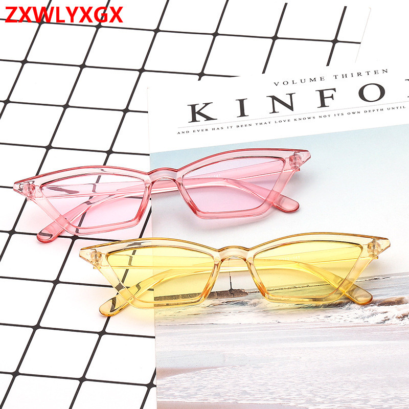 2018 Brand Design New European American Cat Eye Glasses Sunglasses Ladies Retro Sunglasses Transparent Box Colorful Glasses(China)