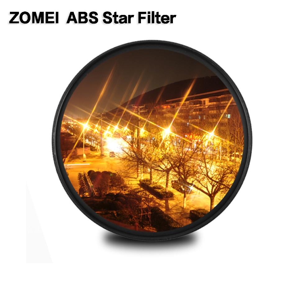 ABS Vidro Óptico Fader Estrela Estrela Linha Filtro Zomei 4/6/8 point Camera Filtro Magro 49/ 52/58/67/72/77/82mm Para Canon Nikon Sony