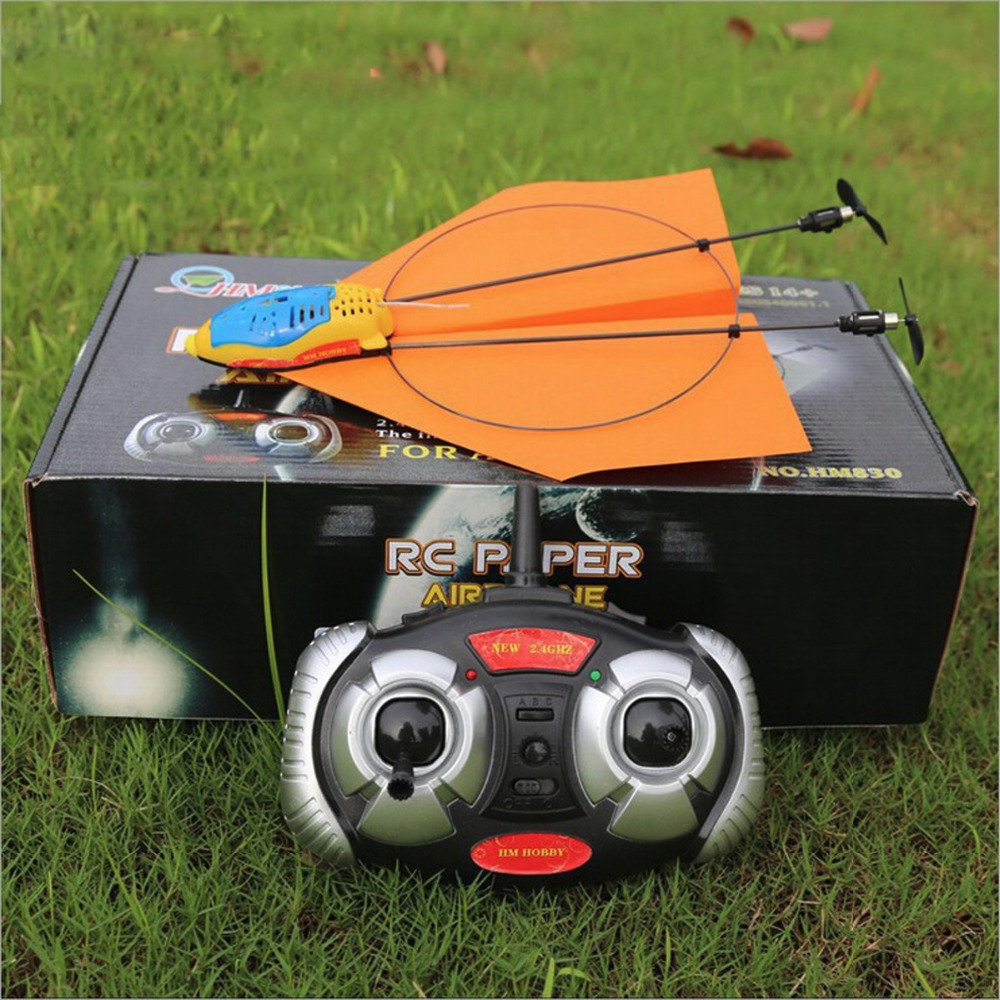 Creative Gift HM830 Paper Electric RC Airplane Remote Control 2.4GHz 2CH Plane Easy Fly Children Toys Shatter Resistant light