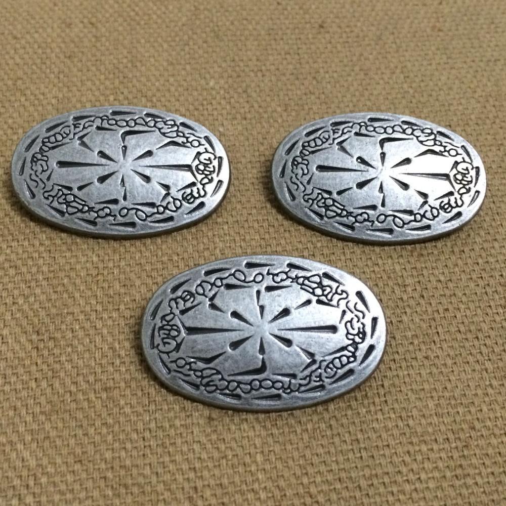 Nové přicházející kutily 30PCS 31x20MM starožitné stříbrné oválné cvočky nýt punk špice boty opasek taška příslušenství kožená řemesla doprava zdarma