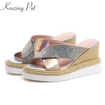 Krazing Pot 2019 sequined cloth shiny peep toe genuine leather platform slip pn women high heels princess movie star sandals l03