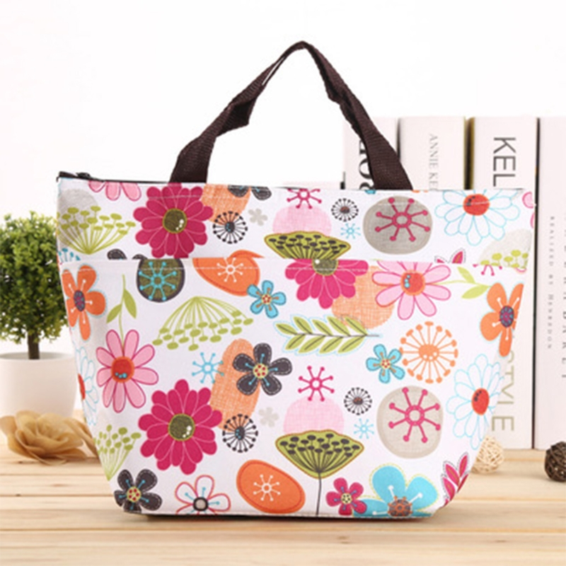 Picnic Insulated Food Storage Box Lunch Tote Fashion Solid Soft Portable Lunch Bag Oxford cloth and Insulation Aluminium Film