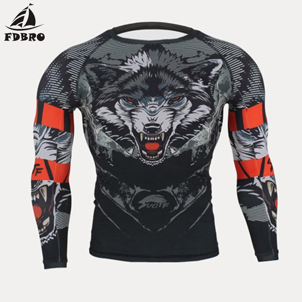 Tight Long T-Shirts Trousers Muay Thai MMA Fightwear Boxing Set Compression Jersey Pants 3D Wolf Printing Rashguard KickBoxing