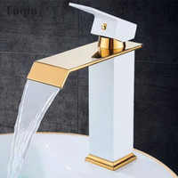 Free Shipping Golden Square Basin Faucets Waterfall Single handle Basin Faucet Sink Water Crane Gold