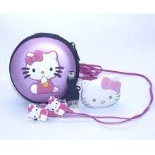 1 шт./лот Высокое качество hello kitty MP3 музыкальный плеер клип mp3 плееры Поддержка TF карта с наушником мини USB сумка
