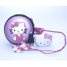 1pcs/lot High Quality Hello Kitty MP3 Music Player Clip MP3 Players Support TF Card With Earphone Mini USB Bag