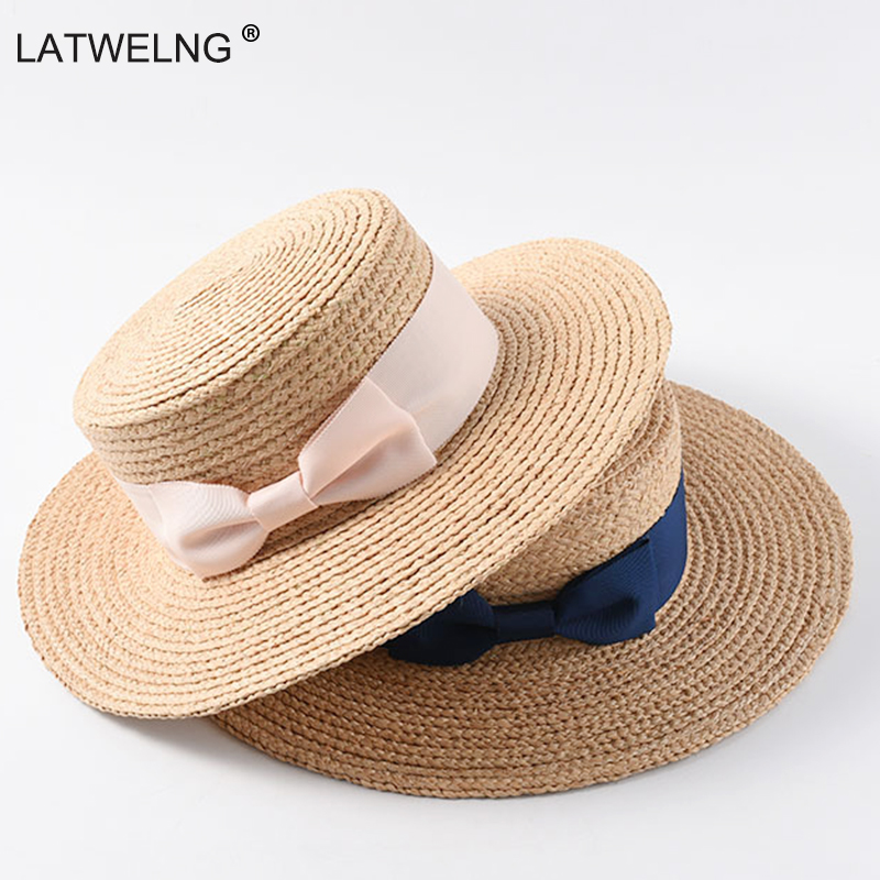 2019 New Tea Party Hat Classic Bow Raffia Hats Women Girls Flat Sun Hat Chinese Straw Hat Summer Cap Dropshipping Wholesale-in Women's Sun Hats from Apparel Accessories