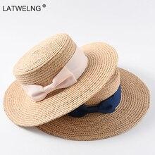 2019 New Tea Party Hat Classic Bow Raffia Hats Women Girls Flat Sun Hat Chinese Straw Hat Summer Cap Dropshipping Wholesale