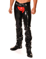 Latex Full Length Chaps Long Zip Inside Latex Pants For Men With Red Latex Shorts