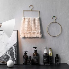 Nordic style Geometric Design Gold Iron Art Wall Hook Storage Rack Home Organizer Decor Tool For Clothes Tie Towel Livingroom(China)