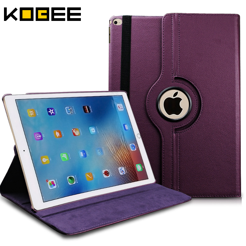 KOBEE Luxury Tablet Cover Case For Apple iPad pro 12.9 inch Leather Flip 360 Rotating Book Stand Smart Cover Skin for iPad Pro case for funda ipad pro 12 9 luxury business leather case tablet 12 9 inch wake up hand belt holder stand flip bags alabasta