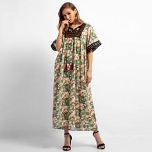 Caftan marocain Dress Women Floral embroidery Print Long O-Neck Dresses Islamic Muslim Middle East Maxi Robe dress women  4.15