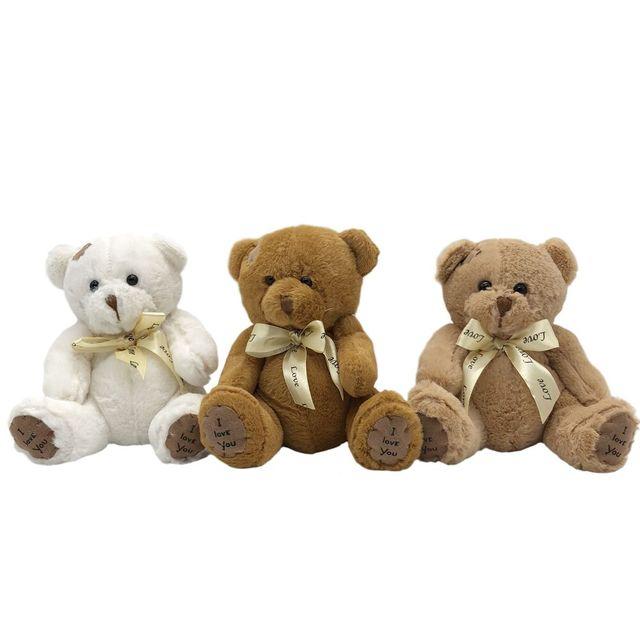 1pc 18cm Stuffed Teddy Bear Dolls Patch Bears Three Colors Plush