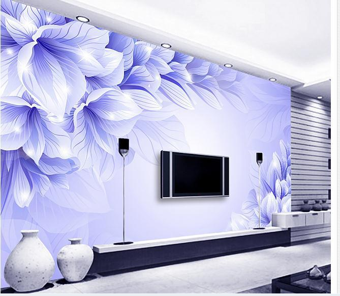 papel de parede 3d stereo blue flower blue dream fashion tv wall flowers 3d wallpaper free shipping 410kp in wallpapers from home improvement on - Flower Wallpaper For Walls