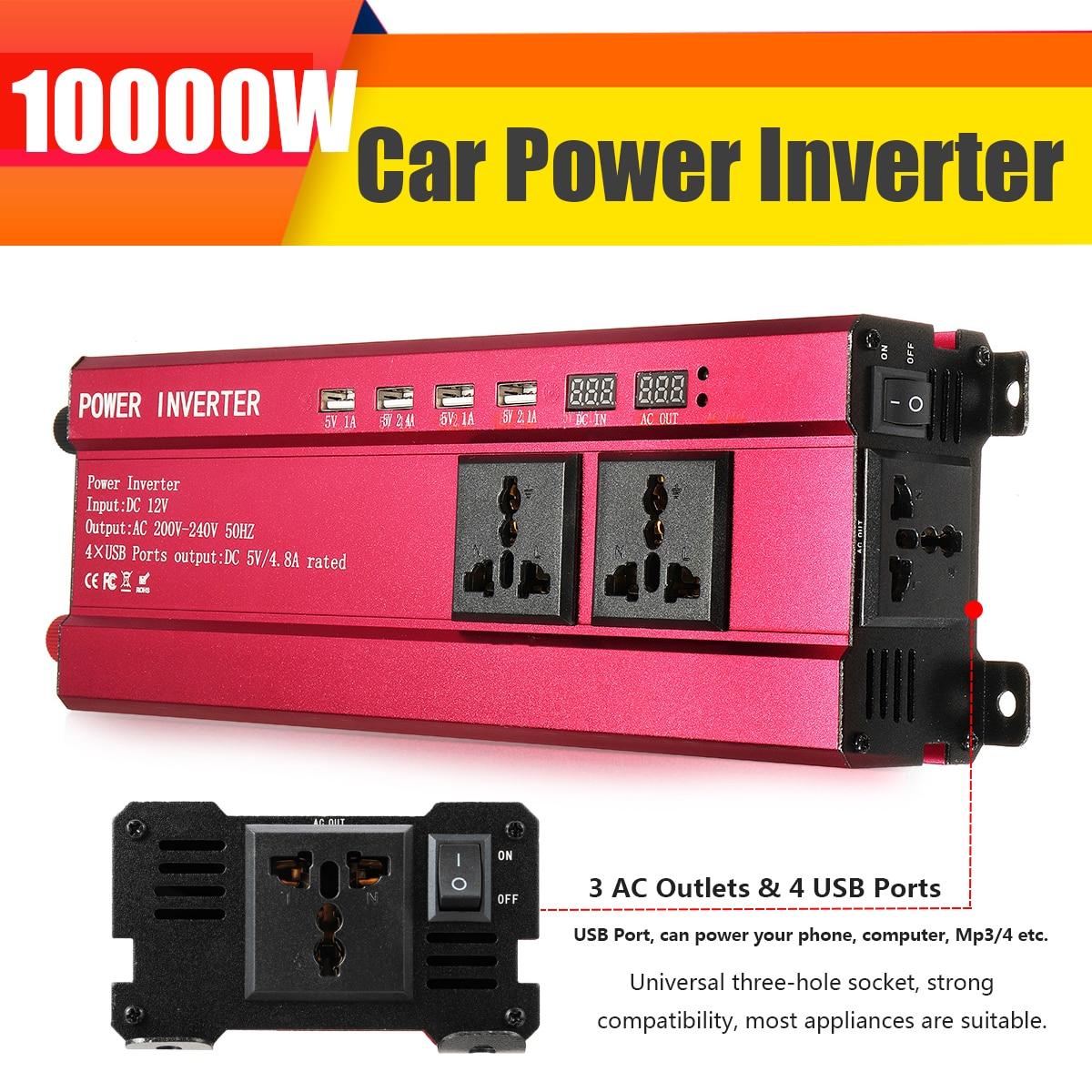 P eak 10000 Вт автомобильный солнечный инвертор постоянного тока 12 В в переменный ток 200 240 В синусоидальный USB преобразователь напряжения трансформатор USB модифицированная Синусоидальная волна