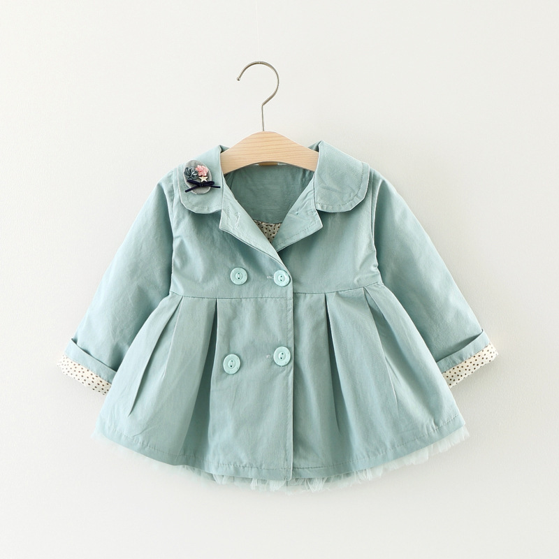 Trench   Coat for Girl Fashion Cat Flower Lapel Outerwear Double-breasted Kids Windbreaker Clothes Jacket for Girls Spring Autumn