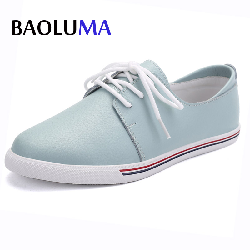 Baoluma Autumn Women Flats Genuine Leather White Casual Oxford Shoes Ladies Lace Up Ballerina Flats Oxfords Ballet Flats 2017 men shoes fashion genuine leather oxfords shoes men s flats lace up men dress shoes spring autumn hombre wedding sapatos