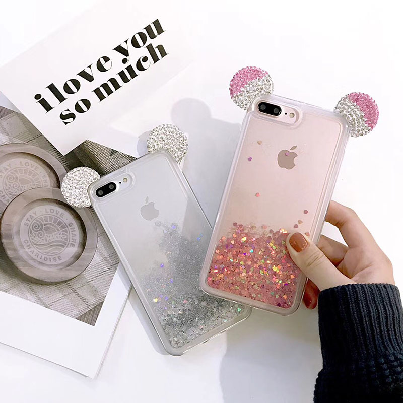new product d42ac 1fd65 Cute Diamond Mickey Ears Iphone 8 Cases Dynamic Glitter Liquid Quicksand  Phone Cover For Iphone X 6 6S Plus 7 Plus