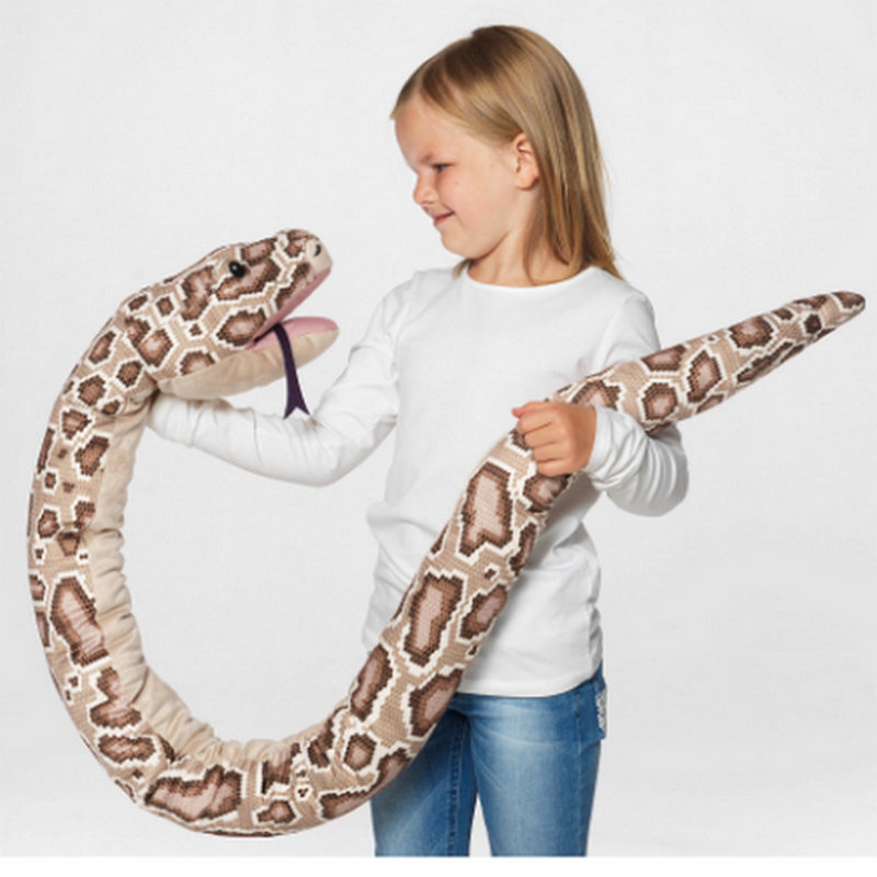 1pc 155cm Real life Plush Toys Stuffed Giant Snake Animal Toy Soft Dolls Bithday Christmas party Gifts baby Funny Hand PuppetStuffed & Plush Animals   -