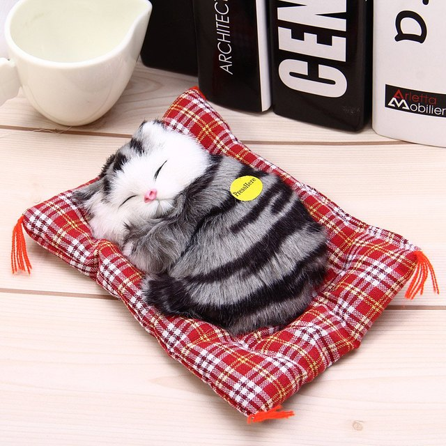 Stuffed Toys Lovely Simulation Animal Doll Plush Sleeping Cats Toy with Sound Kids Toy Decorations Birthday Gift For Children