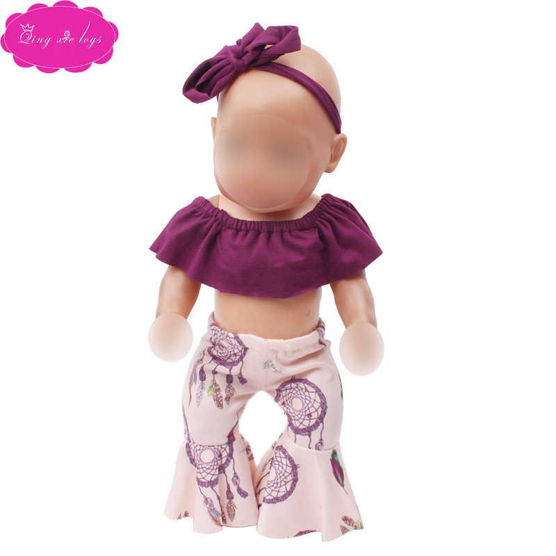 43 Cm Babypop Kleding Dark Purple Flared Broekpak + Haarband Jurk Accessoires Fit Amerikaanse 18 Inch Meisje Pop f717