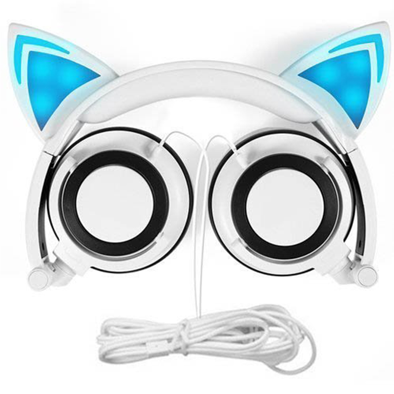 все цены на Primeira causa Foldable Wired Over Ear,Kids Headphone with Glowing Light for Girls Children Cosplay Fans,Cat Ear Headphones.
