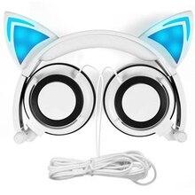 Primeira causa складные проводные наушники для детей со светящимся светом для девочек детские маскарадные вентиляторы наушники с кошачьими ушками