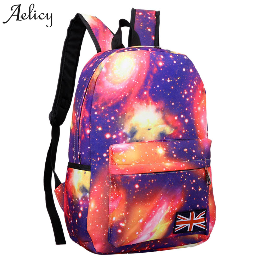 Aelicy Galaxy Pattern Unisex Travel Backpack Canvas Leisure Korean Fashion Backpack Schoolbag 2018 New Design Women Rucksack