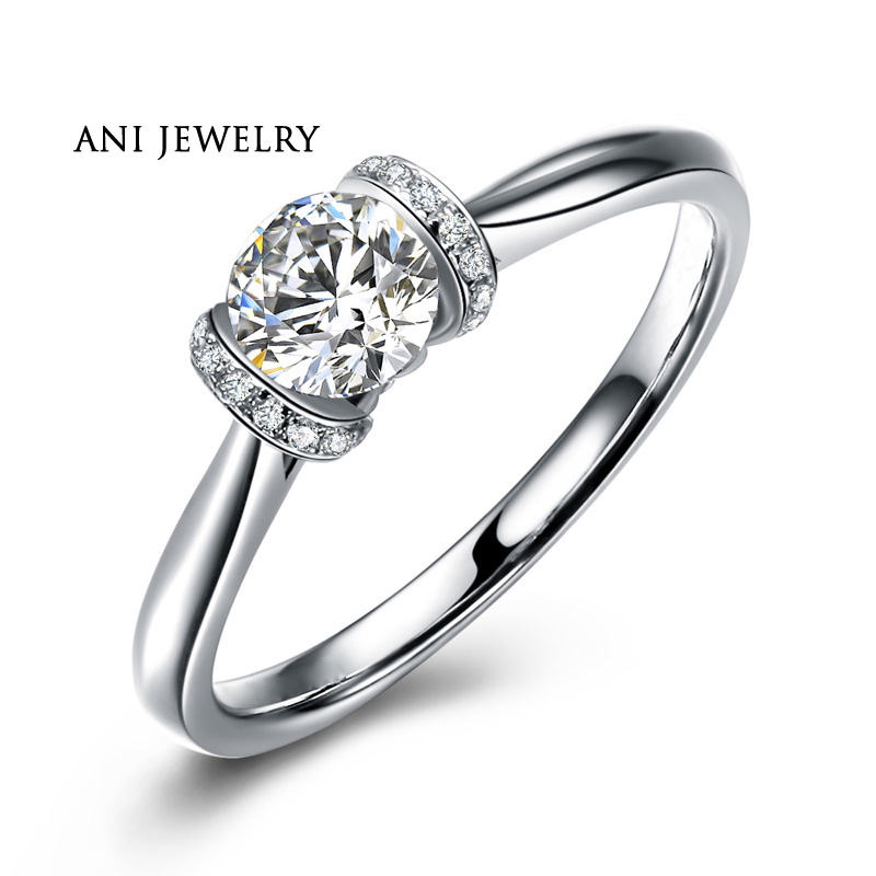 ANI 18K White Gold (AU750) Women Wedding Ring 0.35 CT Certified I/SI1 Round Natural Diamond Engagement Ring for Lover Proposal 18k white gold 1 ct heart shaped wedding ring for lady solid silver synthetic diamond ring for women bb