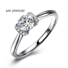 ANI 18K White Gold (AU750) Women Wedding Ring 0.35 CT Certified I/SI1 Round Natural Diamond Engagement Ring for Lover Proposal ani 18k white gold au750 engagement ring 0 3 ct certified i si round natural diamond ring women fine jewelry for bride wedding
