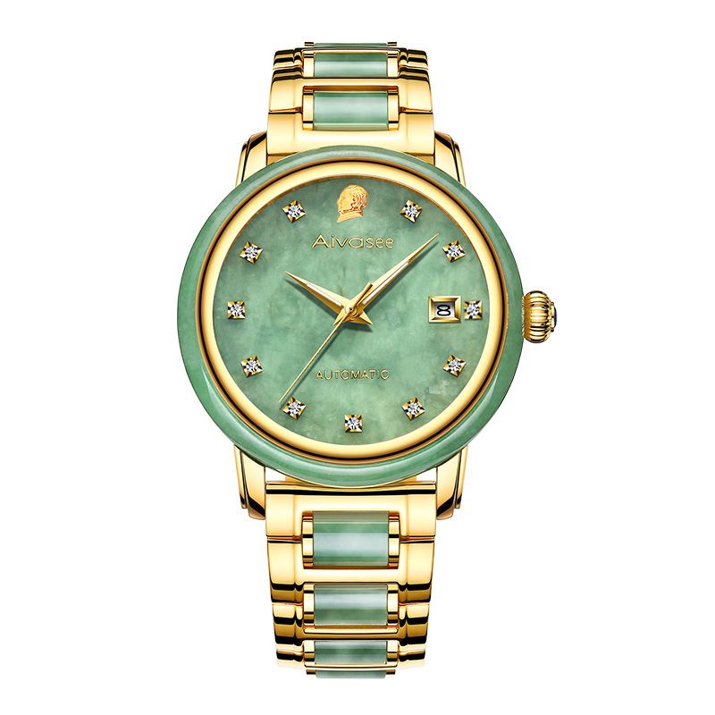Men's Automatic Mechanical Watch Gold-plated Jade Calendar Steel Belt Men's Watch Waterproof Belt Watch Relogio Masculino