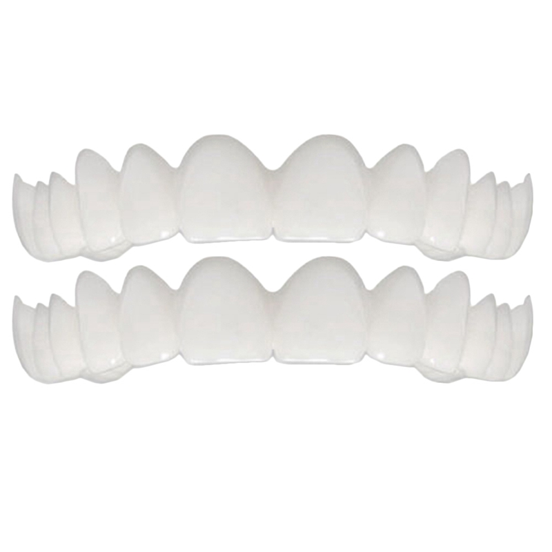 2Pcs Comfort Fit Flex White Fake Teeth Top Veneer Denture For Men Women Oral Supplies Orthodontic Braces Set