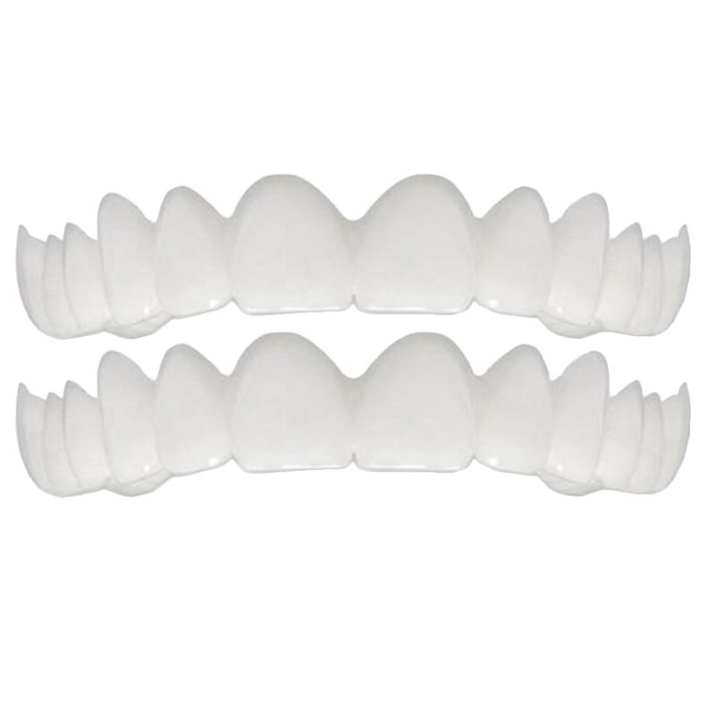 2Pcs Comfort Fit Flex White Fake Teeth Top Veneer Denture For Men Women Oral Supplies Orthodontic Braces Set