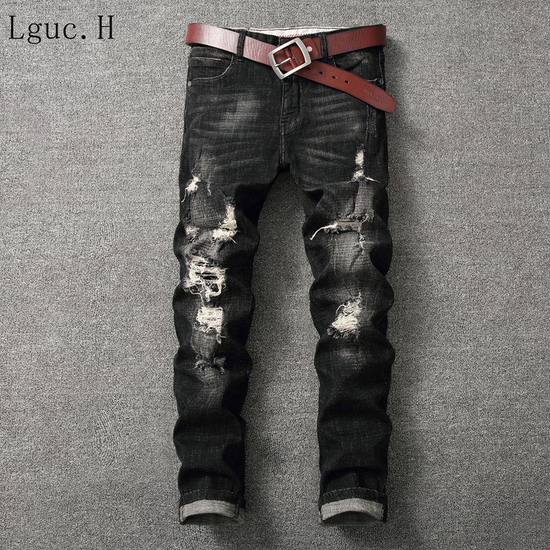 Lguc. H Высокое качество Для мужчин Рваные джинсы Дизайн узкие модные байкерские Джинсы для женщин Весна и осень Для мужчин джинсовые узкие Пр...