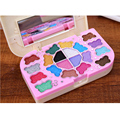 2pcs/set Candy box Primer 20 colors Shimmer Eye Shadow Palette Kids Make Up Kit Blusher Lip gloss Powder brush collection set