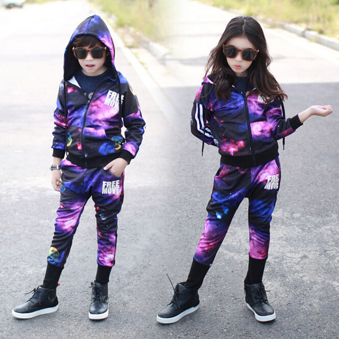 new spring 2016 stars  children suit baby boy girls hoodies+ pans two pieces suit children's clothes baby clothes 5 14 t new leisure boy suit children off two pieces of beard