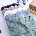 Mulheres Encabeça blusas 2016 Estilo Verão Mulheres Blusas Casual Plus Size Solta Blusa De Linho De Algodão Manga Três Quartos Camisas