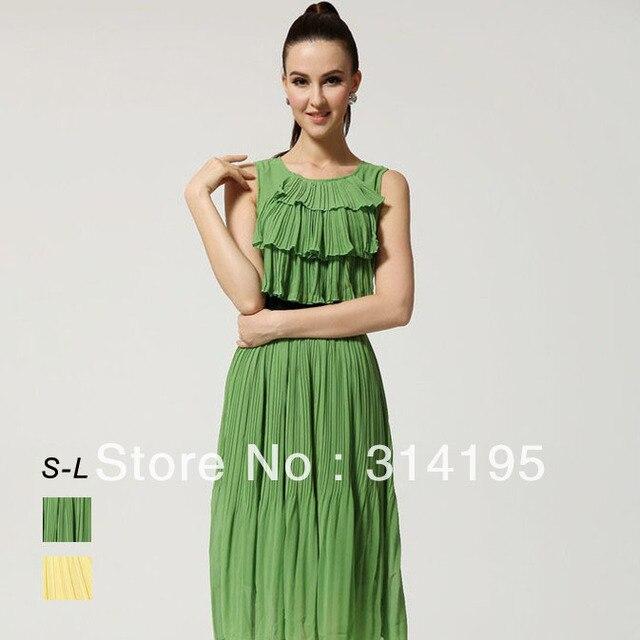 Free Shipping 2013 New Fashion Summer Candy Green/Yellow Chiffon One-Piece Dress Pleated Ladies Long dresses  lmds8051