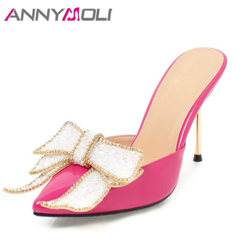 ANNYMOLI Women Pumps High Heels Mules Shoes Bow Pointed Toe Rhinestone Party Shoes Stiletto Thin Heel Spring Red Big Size 33-43 european leisure tables and chairs fashion leisure sofa chair small coffee table beauty salon to discuss the single chair 3pcs
