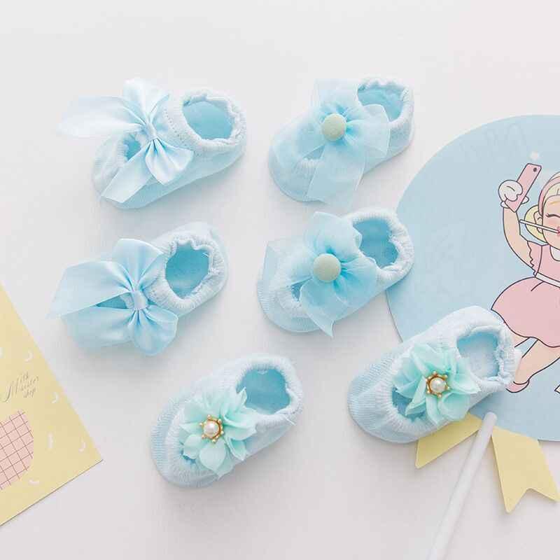 1 para Lytwtw's bawełna wiosna noworodka dziewczynka dzieci skarpety kwiatowe z kokardą koronki antypoślizgowe letnie skarpety wstążka na prezent dzieci pantofel
