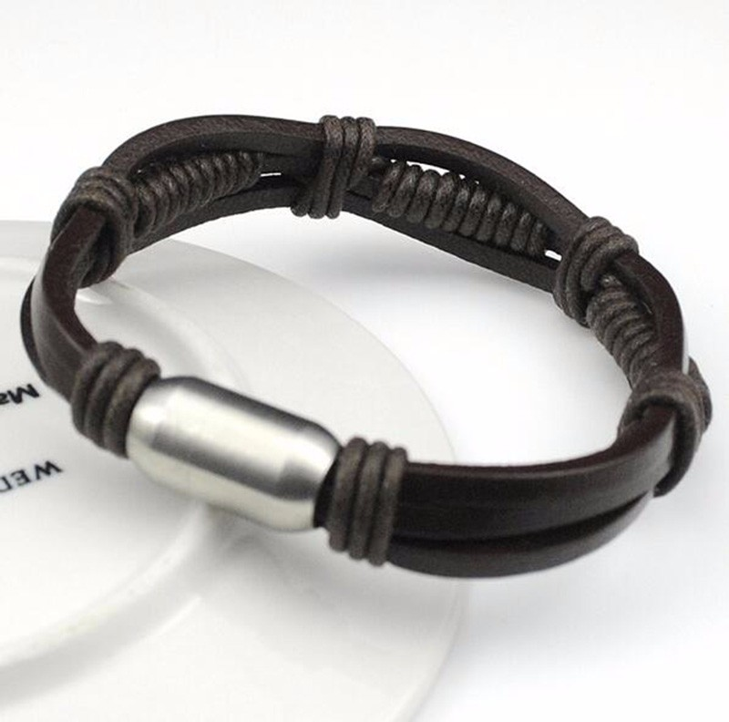 Stainless Steel Leather Bracelet2