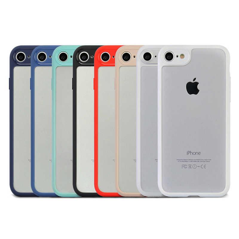超薄型スリム iphone Xs 最大 XR ための × 7 6 6S 8 プラス 5 5S 、 SE 透明の Pc バックカバーケースマット TPU バンパーフレームケース