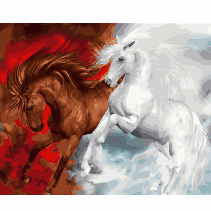 DRAWJOY Framed Picture Horses DIY Painting By Numbers Colorful Picture Home Decor For Living Room Hand Unique Gifts GX23155