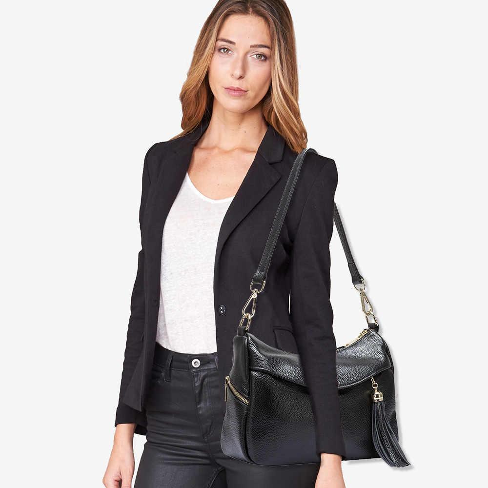 Zency 100% Kulit Asli Fashion Wanita Tas Bahu Tas Rumbai Pesona Wanita Messenger Elegan Tas Bolso Hombro De Las Mujeres