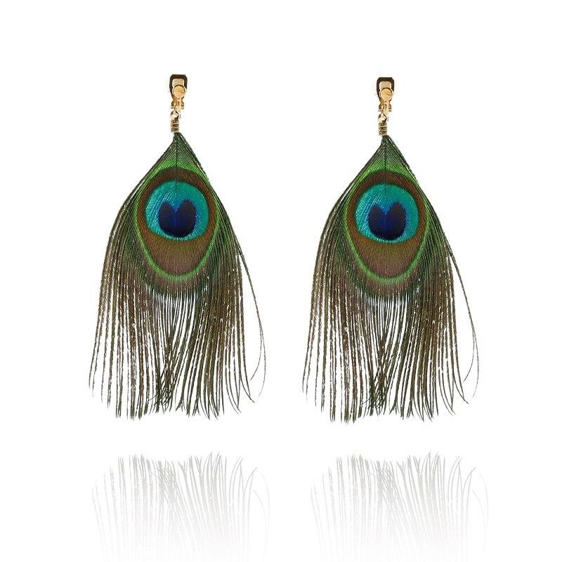 Fashion Lithe Long Real Feather Earrings Without Piercing Clip On Earrings For Women Earring Wholesale Jewelry 2018 Bijoux