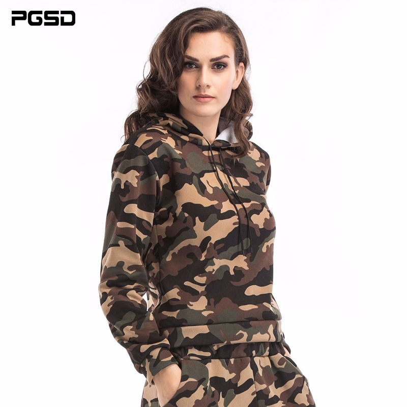 PGSD New Spring Autumn Long sleeves Camouflage hoodies Big size fashion sports women clothes Pullover Sweatshirts female