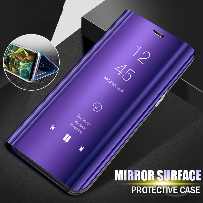 Luxury Plating Mirror Standing Flip Phone Cases for Huawei P9 P10 Plus P20 Pro Hard Plastic Cover for Huawei P20 Lite Case Coque